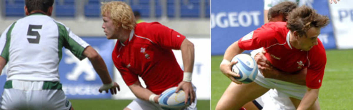 Martin Roberts and Richie Pugh in action against Ireland Sevens