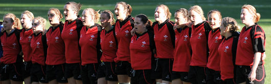 Wales Women U20 line up for the national anthem ahead of their clash with Canada Women U20