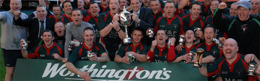 Cambrian Welfare celebrate winning the Worthington Welsh Districts Cup at the Millennium Stadium