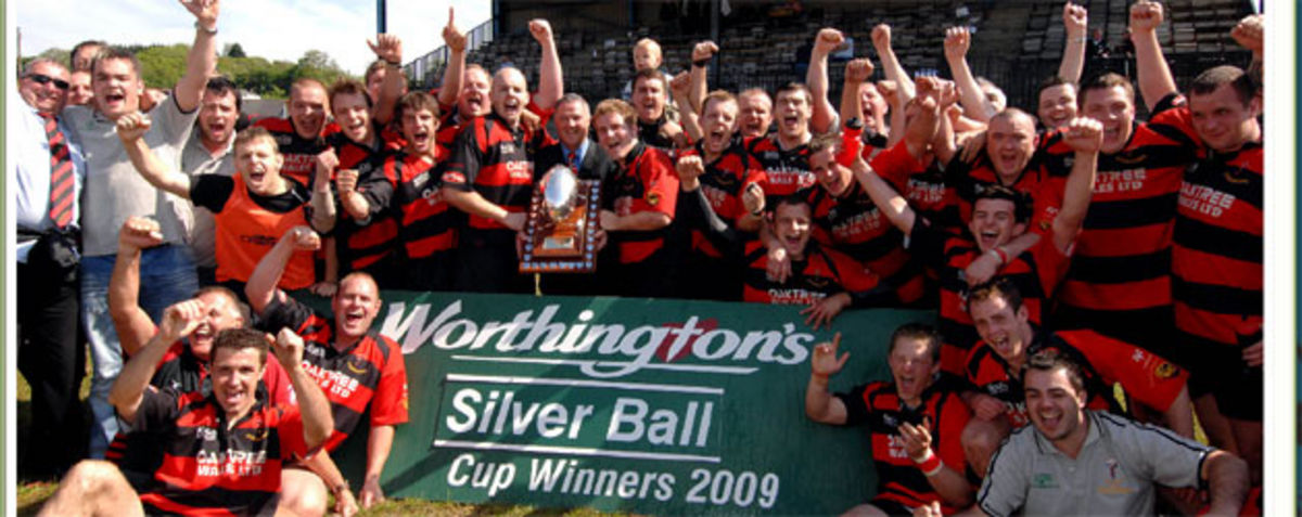 Aberavon celebrate winning the silver Ball trophy presented by Colin Smith Coors Regional sales Manager to Captain Richard Wanklyn