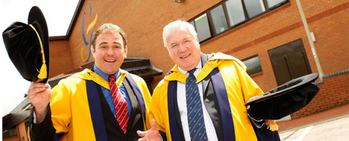 cott Quinell and President of the WRU Dennis Gethin both received the award of Chancellor's Medal at the University's Treforest campus.