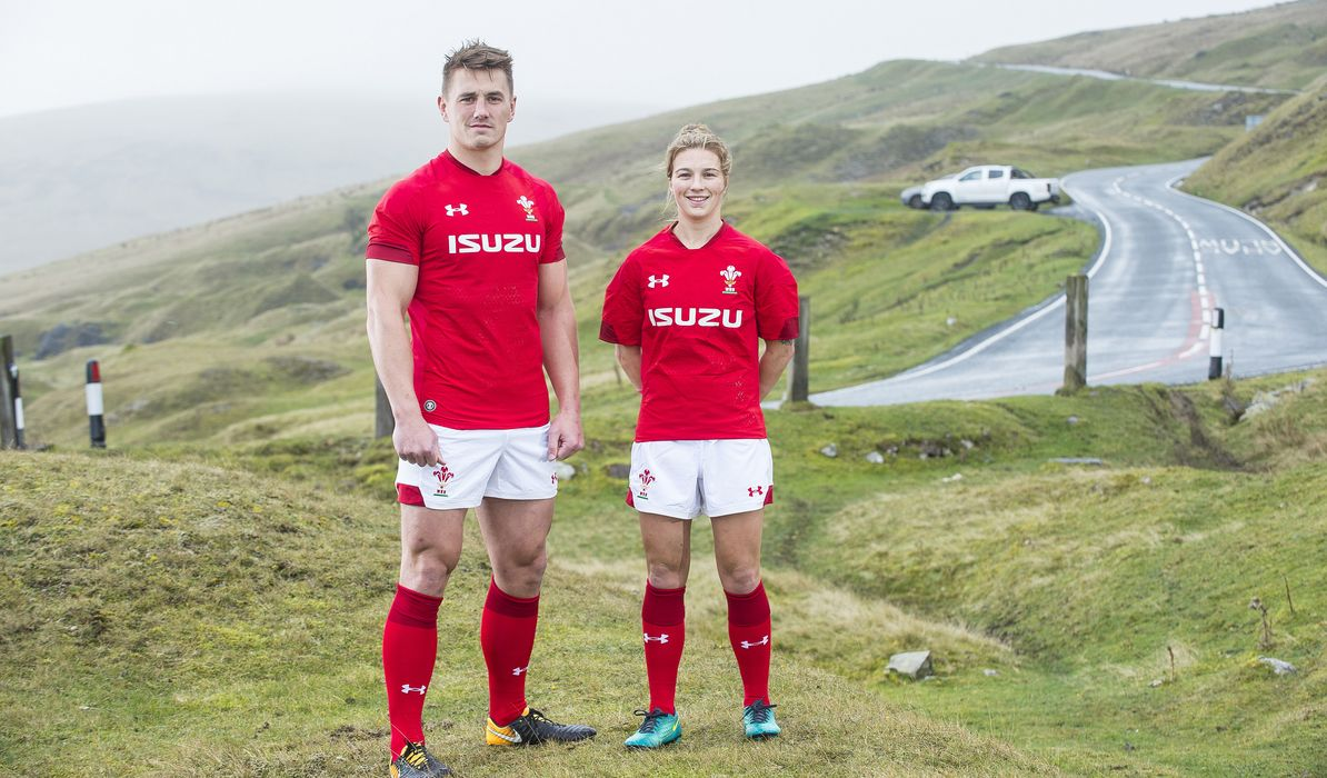 b7141c5739f Jonathan Davies and Keira Bevan, visit Black Mountain Pass in the Brecon  Beacons, the first players wear the new Wales kit from Under Armour in  public via ...