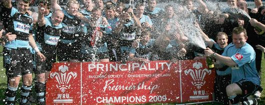 Cardiff celebrate winning the Principality Premiership