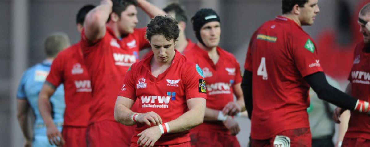 A disappointed Scarlets side