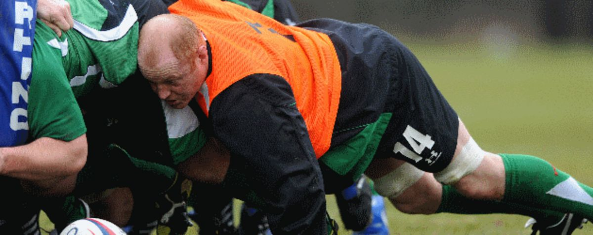 Martyn Williams packs down at training