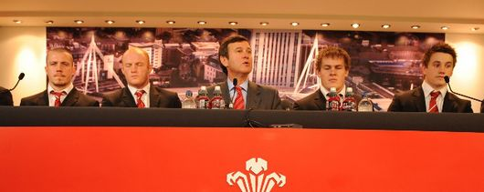 Roger Lewis and Welsh squad members