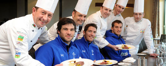 Wales players sample the menu
