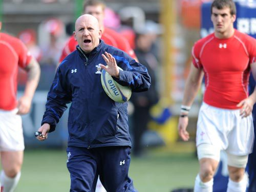 Shaun Edwards runs a warm-up drill prior to the 2011 RBS 6 Nations clash with Italy
