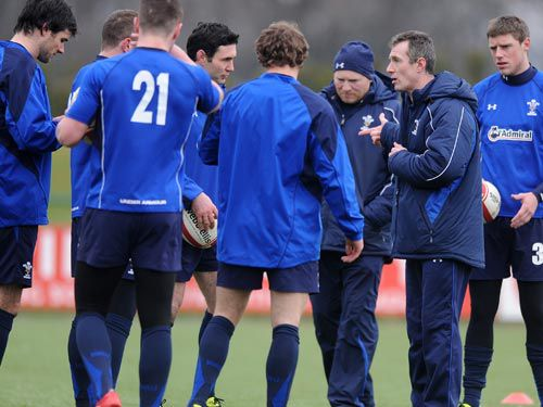 Rob Howley takes a Wales training session during the 2011 RBS 6 Nations