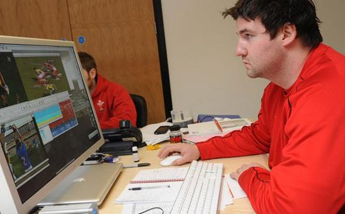 Rhys Long during a match analysis session