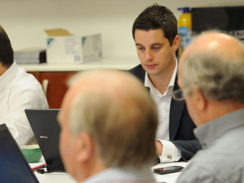 Craig Maxwell debates with the WRU Ltd Board during the 2011-2012 WRU Strategy Meeting