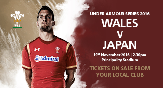 Wales v Japan, tickets on Sale 12th May 2016